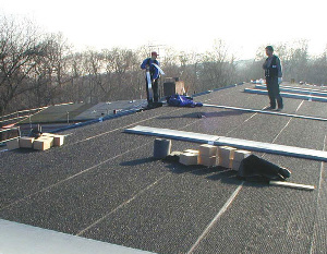 Metal Roof Underlayment Above-Sheating Ventilation System - Colbond Enkamat - Under construction